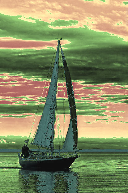 sail boat with threatening skies